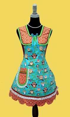 Womens Aprons - Womens Retro Costume Apron, Vintage Inspired Owls Apron 50's Kitchen Apron With Pocket