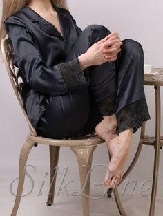 e9370e123ac8591 Женская шелковая пижама рубашка и штаны SL-19 (Черный) купить с доставкой в