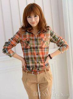 Korean Style Split Joint Turndown Collar Long Sleeve Plaid Classical Blouse from dressvenus.com. Korean Girl Fashion, Shirt Blouses, Shirts, Hipster, Plaid, Korean Style, Long Sleeve, Casual, Shopping