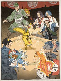 Jed Henry's Nintendo game characters as traditional Japanese Ukiyo-e woodblock prints - Pokemon