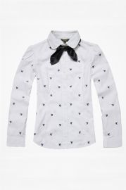 Bowknot Embellished Anchor Printing Long Sleeve Blouse - Apparel