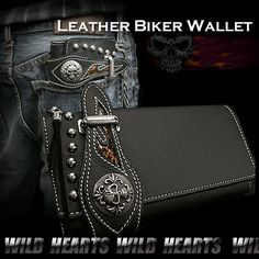 Men's Genuine Leather Wallet Biker Wallet Leather WILD HEARTS Leather&Silver http://item.rakuten.co.jp/auc-wildhearts/lw1607/