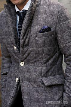 quilted elegant coat w polka dot tie & pocket square details
