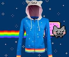 Now you can style yourself after your favorite rainbow farting intergalactic feline by sporting the Nyan Cat hoodie. This fashionable and comfortable sweater will keep you warm and give you that awesome 8-bit look without the unsightly pop-tart body ruining your figure. Buy It $59.99 via ThinkGeek.com