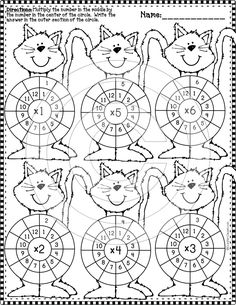 14 double sided multiplication wheel printables with a Halloween theme! 2nd Grade Math, Third Grade, Fourth Grade, Multiplication Wheel, Multiplication Strategies, Math Fractions, Math Worksheets, Math Resources, Math Games