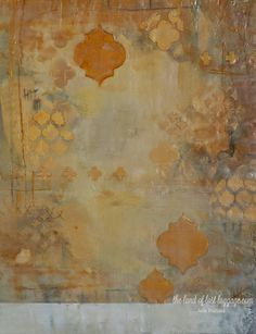Encaustic Mixed Media Painting by Julie Prichard using StencilGirl Stencils.