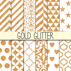 Gold Glitter Patterns  Instant Download   Set of by babushkadesign