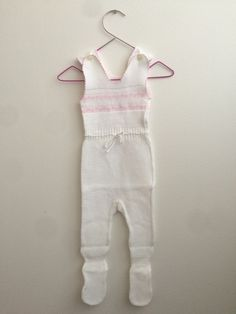 Scandinavian Baby Girl Vintage Knitted Jumpsuit 0-6 months, 60s Retro Baby Romper with in White with a Pink Trim and Pink Heart Pattern by ElleBelleVin on Etsy