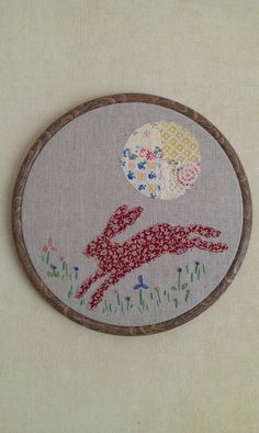 Hare embroidery hoop art