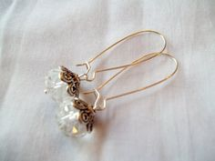 Clear Rondelle Kidney Wire Earrings by TheBlueEyedBeader on Etsy, $14.00