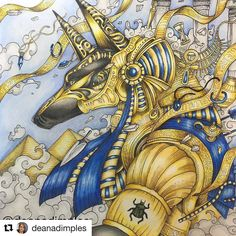 #Repost @deanadimples (@get_repost) ・・・ #Anubis #mythomorphia by @kerbyrosanes #coloringforadults #coloringfun #coloring #coloringbook #coloredpencil #polychromos #prismacolor #ColoringMasterpiece #coloring_secrets