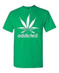 Addicted White Leaf T-shirt Weed Smoker Shirts Large Irish Green