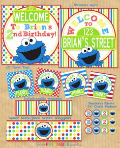 COOKIE MONSTER Party Package    Personalized by YourPrintableParty, $29.00
