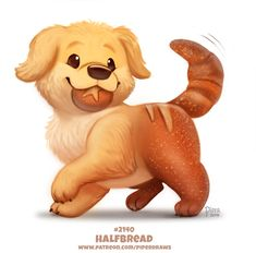 Daily Paint Halfbread by Cryptid-Creations on DeviantArt - Clou,clouer Cute Kawaii Animals, Cute Animal Drawings Kawaii, Cute Baby Animals, Cute Fantasy Creatures, Cute Creatures, Animal Puns, Animal Food, Cute Food Drawings, Cute Animal Pictures