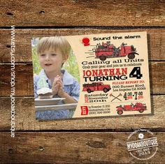 Firetruck birthday invitation firefighter party sound the alarm vintage fire engine photo invite digital printable invitation 14067 by myooakboutique on Etsy