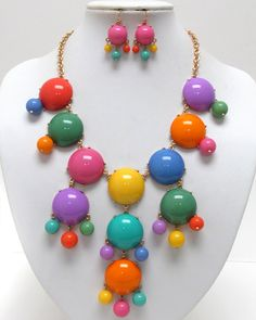 WHOLESALE MULTI ACRYLIC PUFFY ROUND BUBBLE NECKLACE EARRING SET