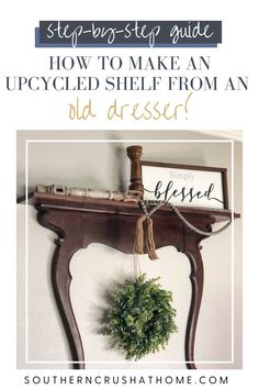 Learn how to make an upcycled shelf from an old dresser with this easy to follow, trash to treasure DIY tutorial!  #trashtotreasure #upcycle #homedecor #diy