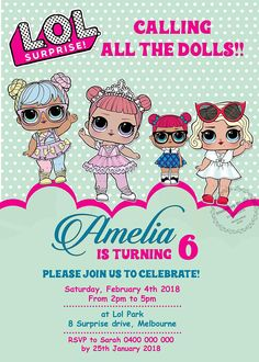 Lol SURPRISE Invitation, LOL Surprise Doll Party, Lol Doll Invitation with photo, Lol Doll Birthday Party with photo + FREE thank you tag-02