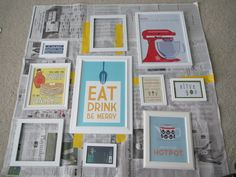 I'd love to put together a cute collage in our kitchen similar to this one. She posted the links on her blog to find all the printables she used in her own kitchen collage.