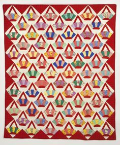 Red Baskets, a vintage quilt in the collection of Susan Dague. Featured in Mary Mashuta's book Cotton Candy Quilts, which also includes a pattern for the block. patchwork, vintag quilt, vintage quilts, quilt inspir, basket quilt, quilt basket, deco basket, baskets, red basket