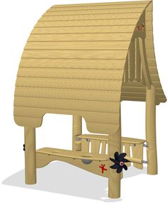 A cottage with organic roof, sand activities and play counter. The product is available in 3 versions: Unthreated Robinia wood. Beach Cottages, Autocad, Wooden Toys, Playground, Activities, 3d, Model, Wooden Toy Plans, Children Playground
