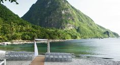 A wedding ceremony with a stunning Piton backdrop