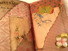 The cover of this journal is made from a photo collage printed on card stock. It is lined with fabric and sewn around the edges It measures 5.5 x 8.75 It has a headband closure with a flower embellished with a gemstone and fibers. There are 30 pages (60 sides). The pages are coffee dyed and inked for a vintage look and feel. The journal has 28 pockets and tuck spots and 26 tags and journal cards. The pages are embellished with lace, fabric, embroidered flowers, 3 fabric paper clips, sheer…