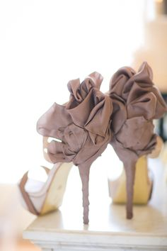 Taupe Chiffon wrapped Stilettos ~ for that Special Evening Occasion