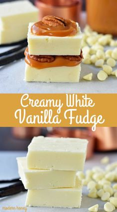Creamy White Vanilla Fudge is smooth, creamy, and will melt-in-your-mouth. How to make homemade white chocolate vanilla fudge from scratch. Vanilla Fudge Recipes, Easy Vanilla Cake Recipe, Easy Cake Recipes, Ice Cream Recipes, Candy Recipes, Snack Recipes, Dessert Recipes, Vanilla Cookies, Cooking Recipes