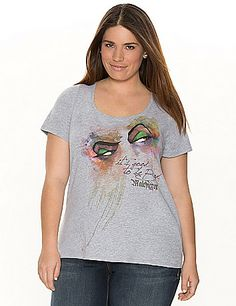 """""""It's good to be bad"""" Maleficent tee. Flattering scoop neck and short sleeves.  lanebryant.com"""