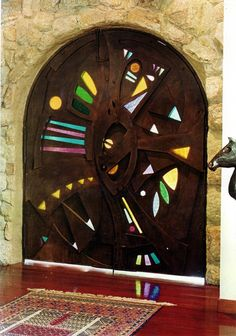 Stained Glass +Iron by NUZ at Betsy Frank Gallery #stainedglassdoor #artnuz