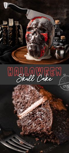 This creepy and frightfully delicious Skull Cake is easily made with store-bought boxed cake mix as the base, put together with a decadent chocolate buttercream filling and covered with a shiny coat of vanilla glaze. #lemonblossoms #cake #halloween #cakemix #easy #halloweentreatsweek #dessert #chocolate