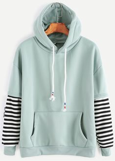 Pale Green Sleeve Striped Drawstring Hooded Sweatshirt With Pocket