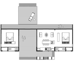 The dog trot floor plan to be decorated in updated Quaker style.