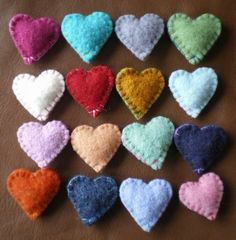 wool felted hearts #craft #heart #felt