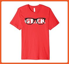 Mens Funny Geek with Glasses T-Shirt  Medium Red - Funny shirts (*Partner-Link)