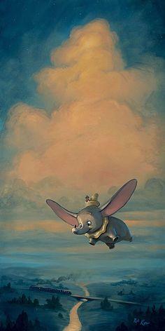 Disney Fine Art Dumbo Joy of Flight Limited Edition Wrapped Canvas Retro Disney, Vintage Disney, Disney Love, Dumbo Disney, Disney Tips, Vintage Travel, Cartoon Wallpaper, Disney Phone Wallpaper, Kawaii Wallpaper