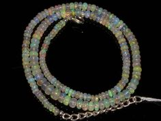 Natural Ethiopian Welo Opal Gemstone Rondelle Plain Beads 47 Ct. Necklace