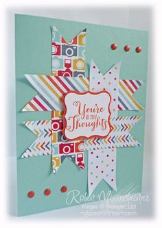 SU! Best of Greetings stamp set; I Am Me DSP; Calypso Coral and Pool Party card stock - Robin Messenheimer