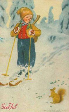 Julekort Erling Nielsen 1940-tallet Norsk arbeide
