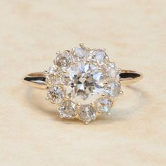 Antique Victorian 14K Yellow Gold Clustered Flower Diamond Engagement Ring