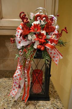 Red And White Heart Valentine Lantern Swag by kristenscreations 11x18 20 inches high