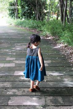 ノースリーブギャザーワンピ - enanna Little Girl Dresses, Girls Dresses, Summer Dresses, Baby Kids Wear, Raising Girls, Refashion, Kids And Parenting, To My Daughter, Kids Outfits