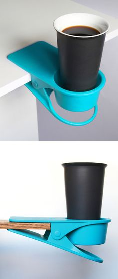 Drink Desk Clip I love those gadgets / solutions! Must Have Gadgets, Cool Gadgets, Cool Inventions, Kitchen Gadgets, Nifty, A Table, Helpful Hints, 3d Printing, Life Hacks