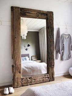 Driftwood mirror... diy...salvaged wood floor mirror...rustic home decor LOVE this.