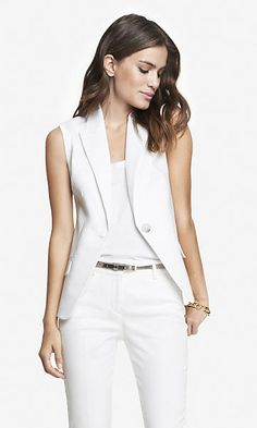 ultimate double weave suit vest from EXPRESS Blazers For Women, Suits For Women, Jackets For Women, Clothes For Women, Vest Outfits, Fashion Outfits, Womens Dress Suits, Evolution T Shirt, White Suits