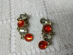 Jonquil and Tangerine art glass   Clip  earrings by LucyLucyLemon