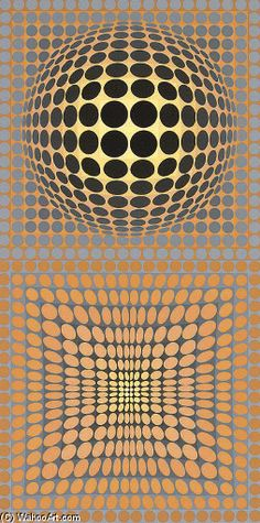 Untitled 10, Oil by Victor Vasarely (1906-1997, Hungary)