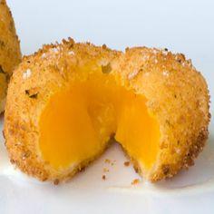 Sous Vide Egg Yolk Croquette with Gruyere Foam
