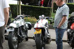 Moto Guzzi and a Triumph Thruxton